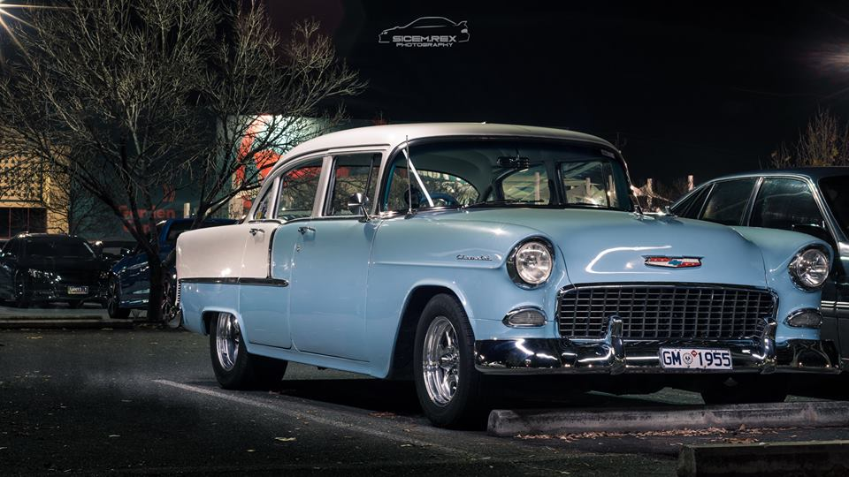Blue 55 Chev